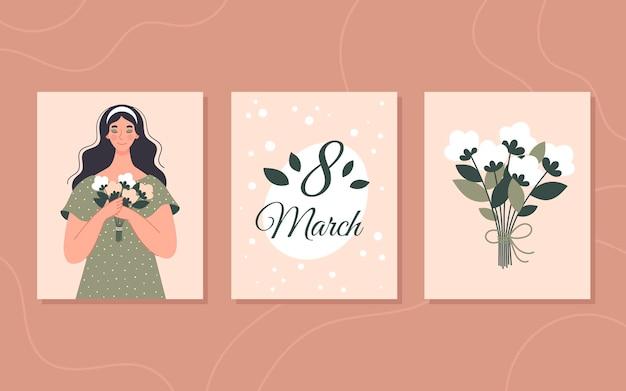 Conjunto de cartões de felicitações de primavera para o dia da mulher, 8 de março. cartão quadrado-de-rosa com uma inscrição. ilustração vetorial