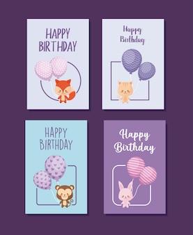 Conjunto de cartões de feliz aniversário com animais fofos