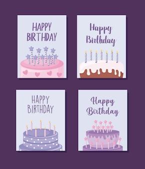 Conjunto de cartões de feliz aniversário com bolo doce
