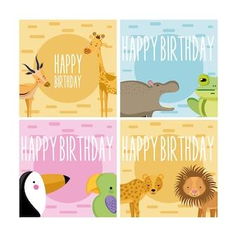Conjunto de cartões de feliz aniversário de animais