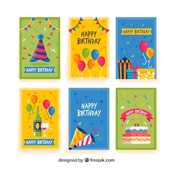 Conjunto de cartões de feliz aniversario em estilo plano