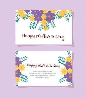 Conjunto de cartões de feliz dia das mães com decoração de flores