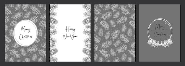 Conjunto de cartões de feliz natal. feliz ano novo. decoração do feriado.