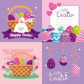 Conjunto de cartões de feliz páscoa com decoração