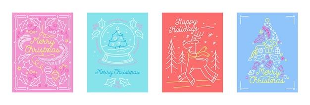 Conjunto de cartões de férias de feliz natal no estilo linear com símbolos festivos da árvore do abeto, renas e globo de cristal. temporada de férias de inverno, projeto de felicitações de cartão postal. ilustração vetorial