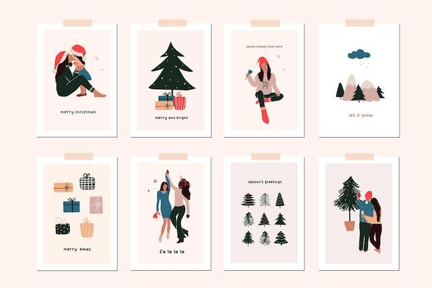 Conjunto de cartões de férias de inverno de ano novo de natal com filhos da família, decoração de natal. vetor abstrato natal pessoas ilustração moderna desenhada à mão estilo simples