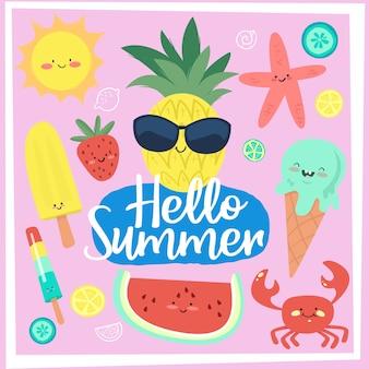 Conjunto de cartões de férias de verão divertido doodle