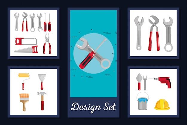 Conjunto de cartões de ferramentas e equipamentos em construção