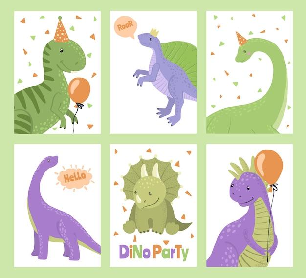 Conjunto de cartões de festa com dinossauros dos desenhos animados.