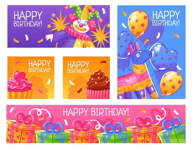 Conjunto de cartões de festa de aniversário