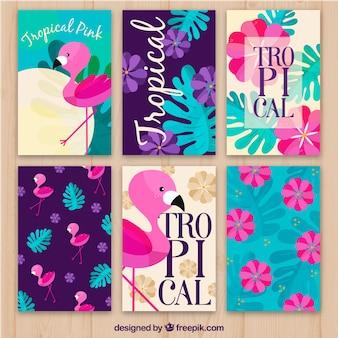 Conjunto de cartões de flamenco e flores tropicais