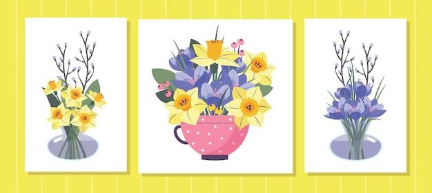 Conjunto de cartões de flores da mola