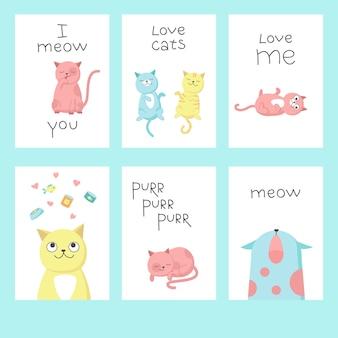 Conjunto de cartões de gato fofo