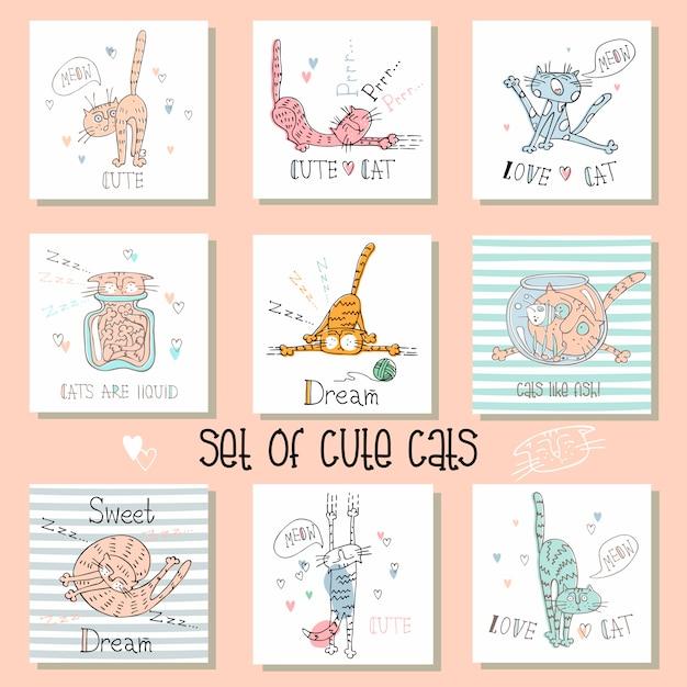 Conjunto de cartões de gatos engraçados em um estilo bonito.