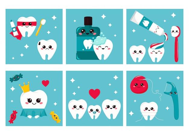 Conjunto de cartões de higiene dental para crianças. personagens de desenhos animados bonitos - dentes, escova de dentes, creme dental, fio dental.