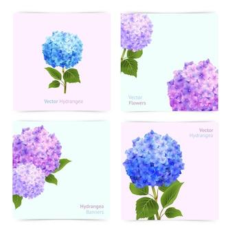 Conjunto de cartões de hortênsia