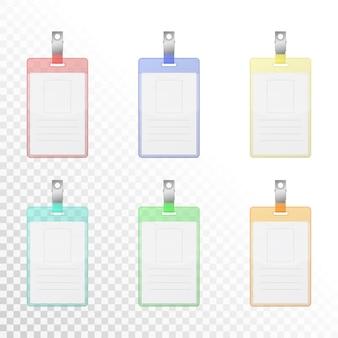 Conjunto de cartões de identificação verticais coloridos transparentes