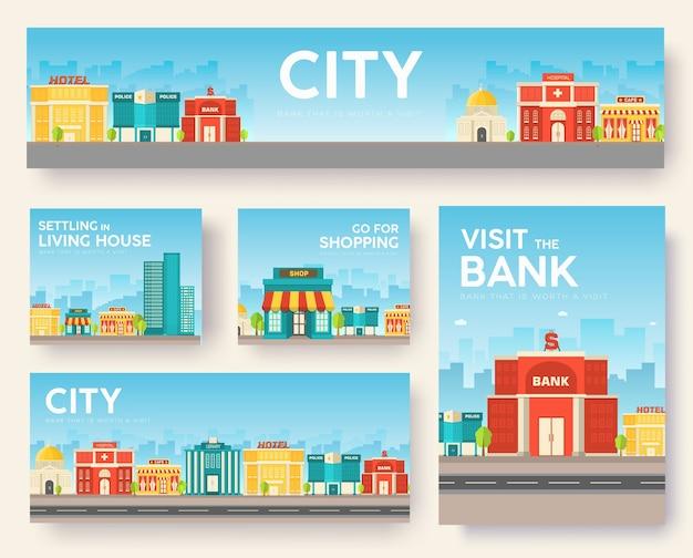 Conjunto de cartões de informações da cidade