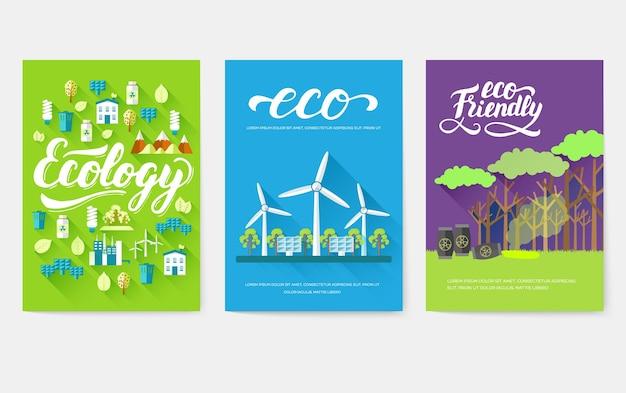 Conjunto de cartões de informações de ecologia.