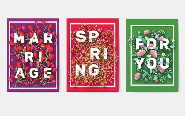 Conjunto de cartões de informações de flores. modelo de outono de flyear, revistas, cartazes, capa de livro, banners.