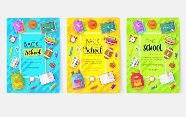 Conjunto de cartões de informações de volta à escola