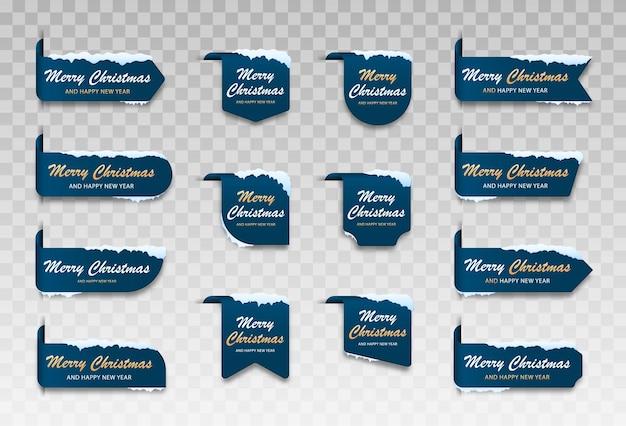 Conjunto de cartões de inverno azul etiqueta de feliz natal para feliz natal com neve
