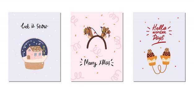Conjunto de cartões de inverno com elementos tradicionais de inverno no estilo hygge. aconchegante temporada de inverno. escandinavo