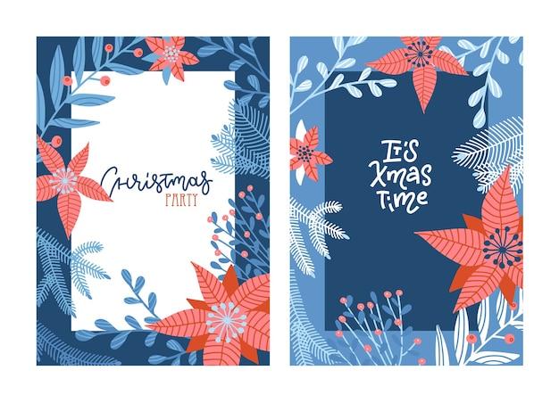 Conjunto de cartões de letras de feliz natal mão desenhada nas cores azuis e vermelhas.