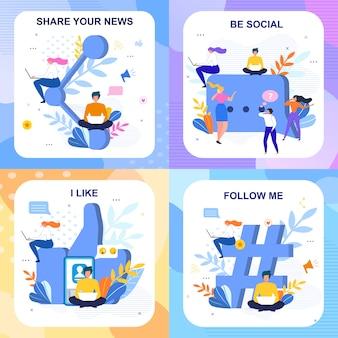 Conjunto de cartões de letras sociais planas em estilo floral