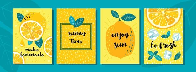 Conjunto de cartões de limão: frutas de limão, metade, fatias, flores, cubos de gelo, gotas, saudações.