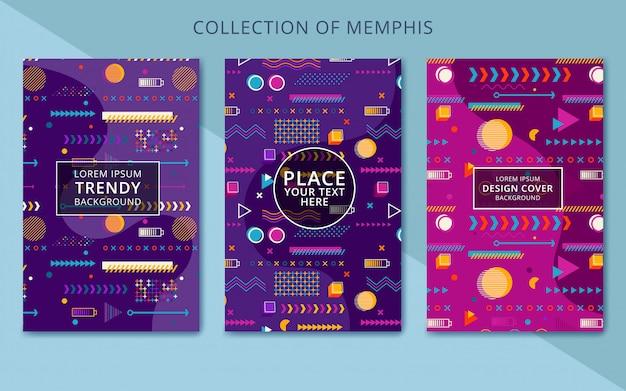 Conjunto de cartões de memphis de elementos geométricos na moda