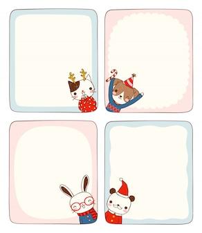 Conjunto de cartões de mensagem vazia com animais em traje de inverno