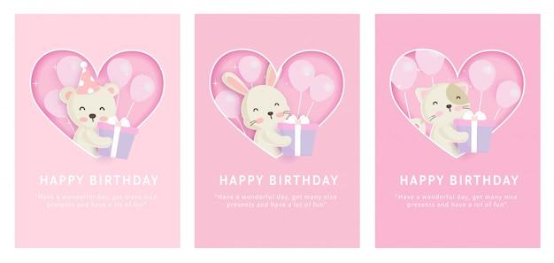 Conjunto de cartões de modelo animais com coelho fofo, gato e urso no estilo de cartão de papel para cartão de aniversário
