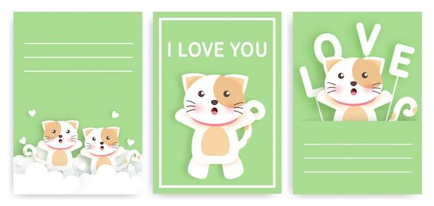 Conjunto de cartões de modelo com gatos fofos.
