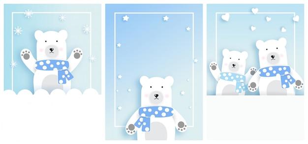 Conjunto de cartões de modelo com polar branco em estilo de corte de papel