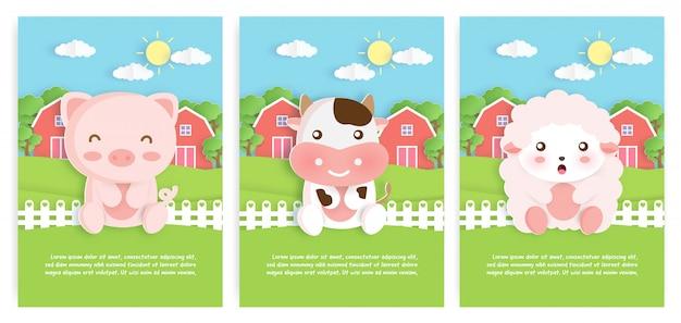 Conjunto de cartões de modelo de animais de fazenda com caráter bonito porco, vaca e ovelha