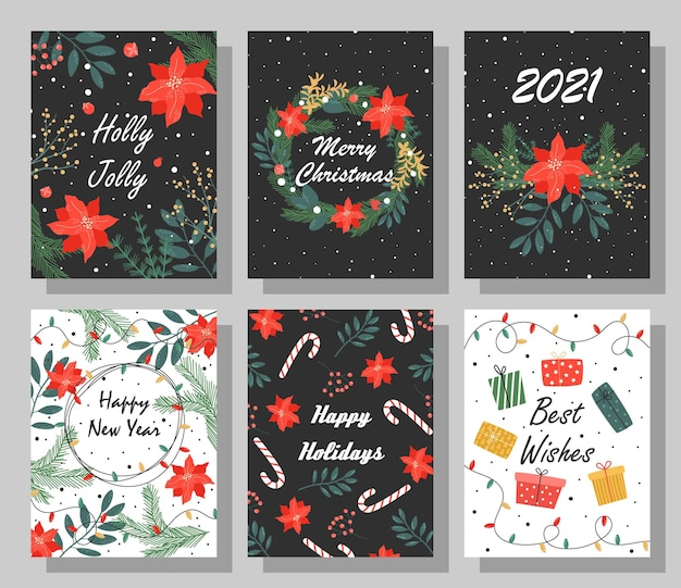 Conjunto de cartões de natal brilhantes com parabéns.