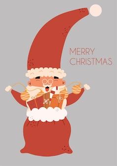 Conjunto de cartões de natal com o papai noel. ilustração vetorial em estilo simples