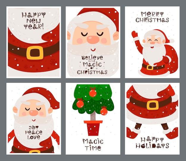 Conjunto de cartões de natal com papai noel