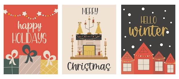 Conjunto de cartões de natal com presentes com lareira, casas de inverno, letras olá, inverno, feliz natal