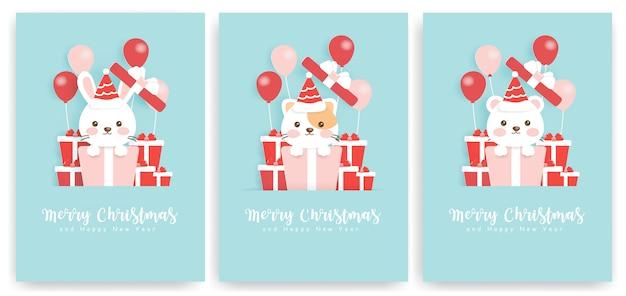 Conjunto de cartões de natal com urso bonito, coelho e gato.