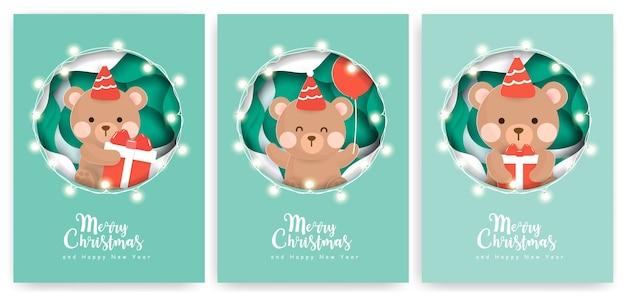 Conjunto de cartões de natal com urso bonito.