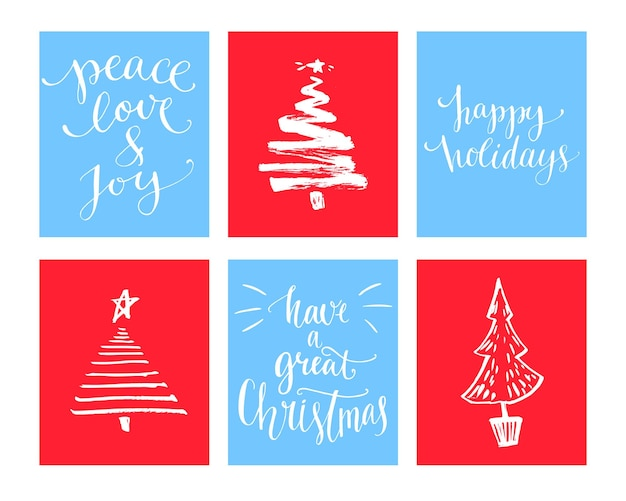 Conjunto de cartões de natal. desejos de caligrafia e árvore de natal de mão desenhada.