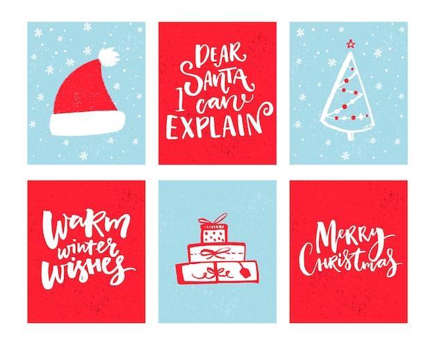 Conjunto de cartões de natal desenho vetorial de natal com elementos desenhados à mão e letras de desejos de inverno