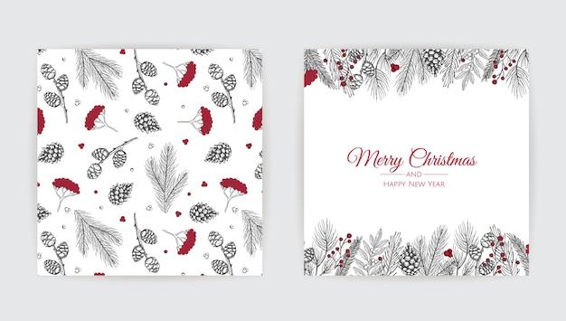 Conjunto de cartões de natal do vetor. modelos de cartões de festas natalinas