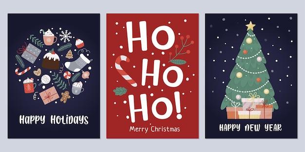 Conjunto de cartões de natal e ano novo com árvore, caixa de presente, folhas, pirulito, bugiganga, bagas, biscoito de gengibre ideal para férias de inverno. ilustração vetorial