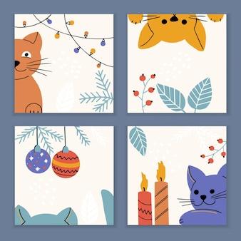 Conjunto de cartões de natal e ano novo com elementos e símbolos de gatinho e feriado