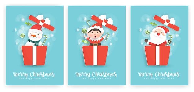 Conjunto de cartões de natal e ano novo com um lindo papai noel e amigos.
