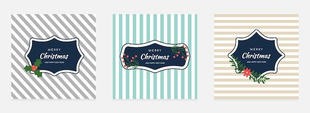 Conjunto de cartões de natal e ano novo. ilustração vetorial.