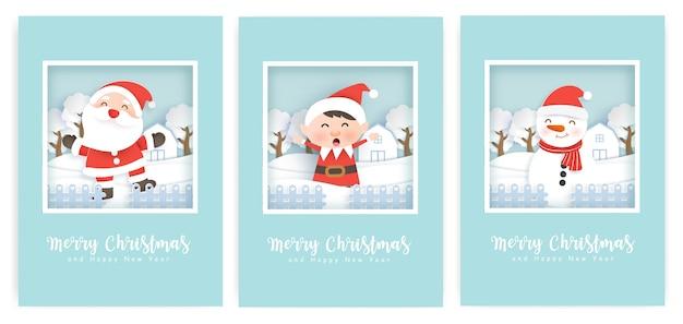 Conjunto de cartões de natal e cartões comemorativos com um papai noel fofo e amigos.